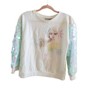 Disney frozen elsa sequin sweatshirt size 16